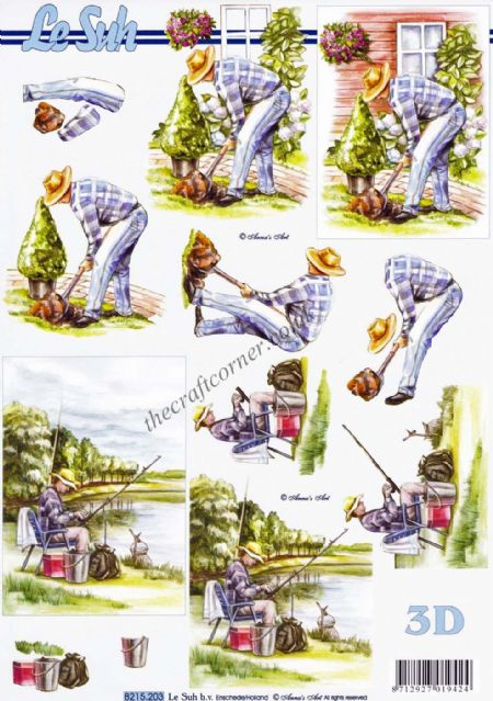Fishing & Gardening Man 3d Decoupage Sheet